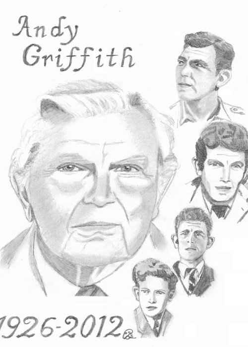 Andy Griffith Greeting Card featuring the drawing Andy Griffith by Gail Schmiedlin