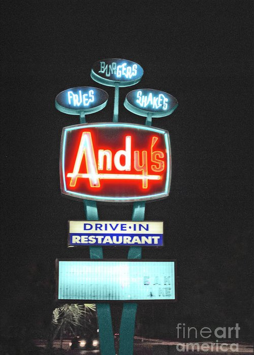 Andy Greeting Card featuring the photograph Andy's Drive-in by Jost Houk