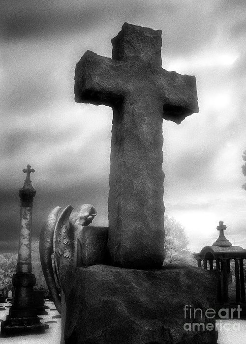 Black & White Infrared Photography Greeting Card featuring the photograph Angel And Cross by Jeff Holbrook