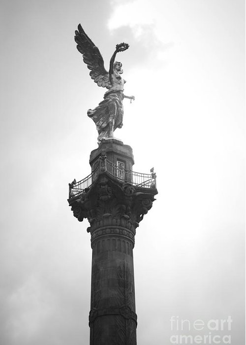 Mexico Greeting Card featuring the photograph Angel Of Independence Bw by L E Jimenez