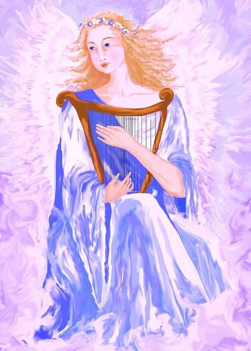 Angel Greeting Card featuring the painting Angel by Sheri Strang
