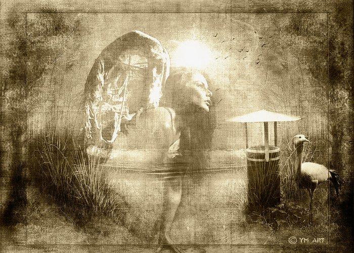 Angel Greeting Card featuring the digital art Angel Spirit Sepia by Yvon van der Wijk
