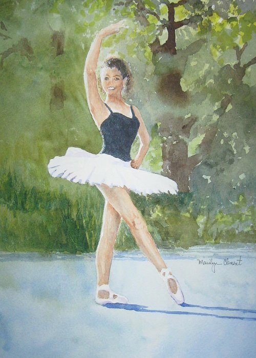 Dancer Greeting Card featuring the painting Angel's Pose by Marilyn Clement