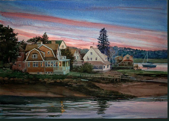 Peter Sit Watercolor Greeting Card featuring the painting Annisquam River by Peter Sit