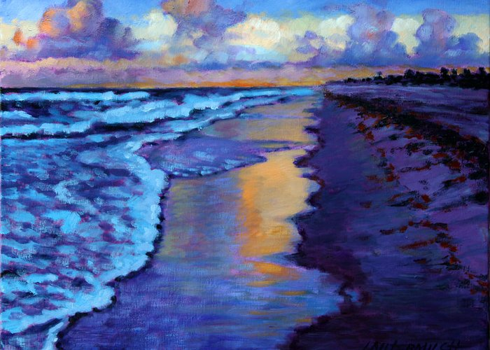 Ocean Greeting Card featuring the painting Another Beautiful Day by John Lautermilch