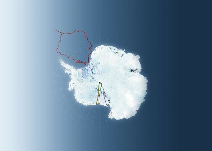 Antarctica Greeting Card featuring the photograph Antarctic Exploration, Route Maps by Mikkel Juul Jensen
