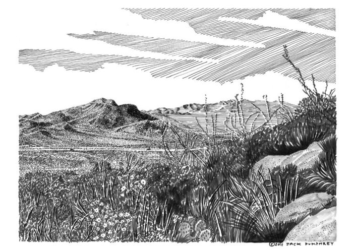 Framed Prints And Note Cards Of Ink Drawings Of Scenic Southern New Mexico. Framed Canvas Prints Of Pen And Ink Images Of Southern New Mexico. Black And White Art Of Southern New Mexico Greeting Card featuring the drawing Anthony Gap New Mexico Texas by Jack Pumphrey