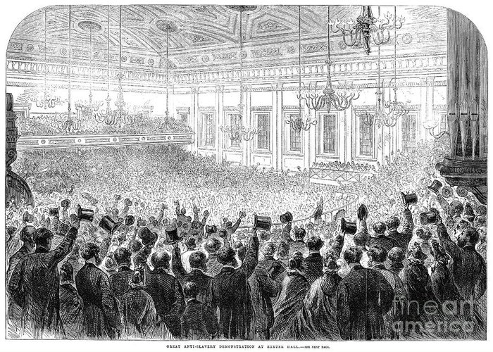 1863 Greeting Card featuring the photograph Anti-slavery Meeting, 1863 by Granger