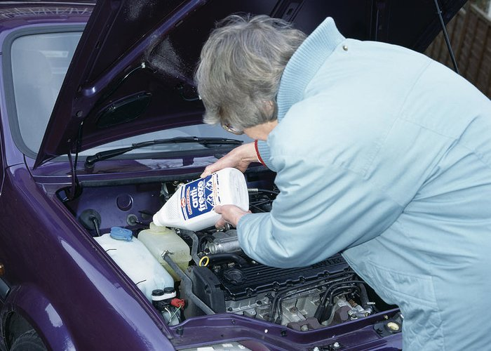 Car Greeting Card featuring the photograph Antifreeze And Car Engine by Andrew Lambert Photography