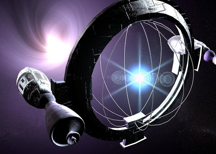 Magnetic Containment Field Greeting Card featuring the photograph Antimatter Drive Spaceship by Christian Darkin