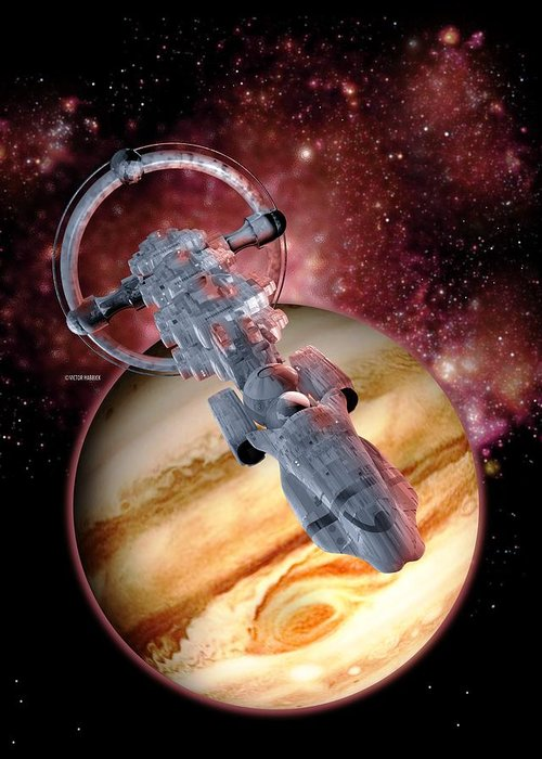 Computer Artwork Greeting Card featuring the photograph Antimatter Drive Spaceship by Victor Habbick Visions