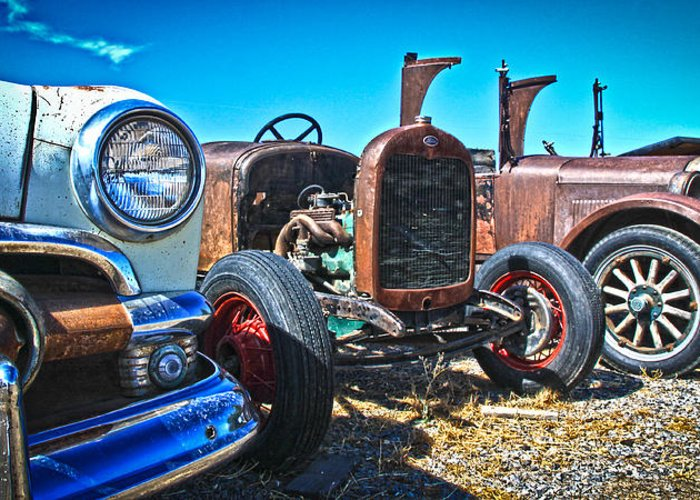 Old Cars Greeting Card featuring the photograph Antique Auto Sales by Steve McKinzie