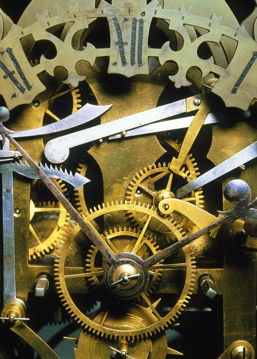 Clock Mechanism Greeting Card featuring the photograph Antique Clock by David Parker