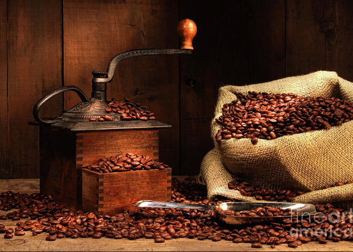 Aroma Greeting Card featuring the photograph Antique Coffee Grinder With Beans by Sandra Cunningham