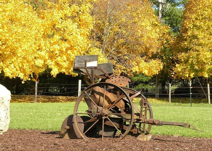 Antique Greeting Card featuring the photograph Antique Farm Equipment by Brittany Roth