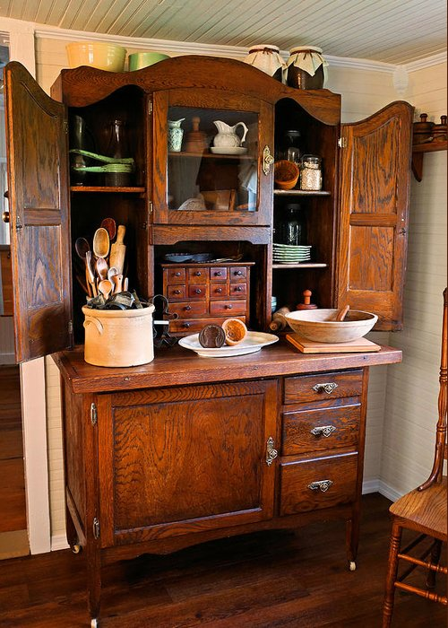 Hoosier Cabinet Greeting Card featuring the photograph Antique Hoosier Cabinet by Carmen Del Valle