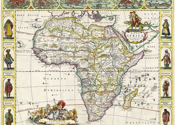 Map Of Africa Greeting Card featuring the drawing Antique Map Of Africa by Dutch School