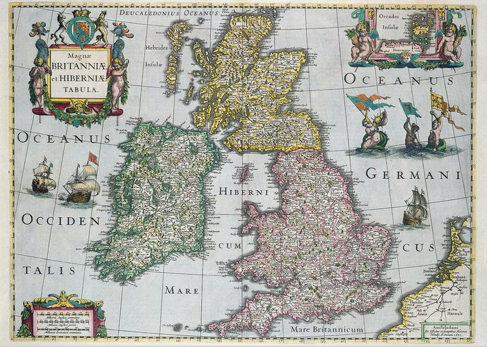 Maps Greeting Card featuring the drawing Antique Map Of Britain by English School