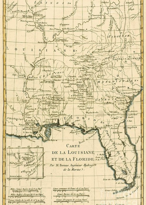 Engraving Greeting Card featuring the drawing Antique Map Of Louisiana And Florida by Guillaume Raynal