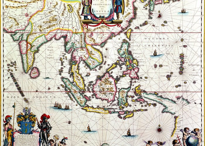 Maps Greeting Card featuring the drawing Antique Map Showing Southeast Asia And The East Indies by Willem Blaeu