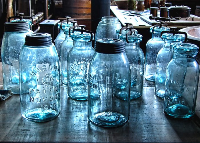 Antique Mason Jars Greeting Card featuring the photograph Antique Mason Jars by Mark Sellers
