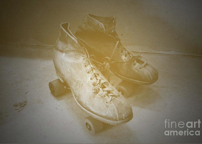 Roller Greeting Card featuring the photograph Antique Roller Skates by Jost Houk