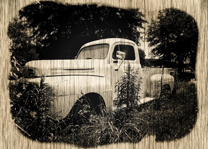 Antique Greeting Card featuring the photograph Antique Truck by Jeanette Hiestand