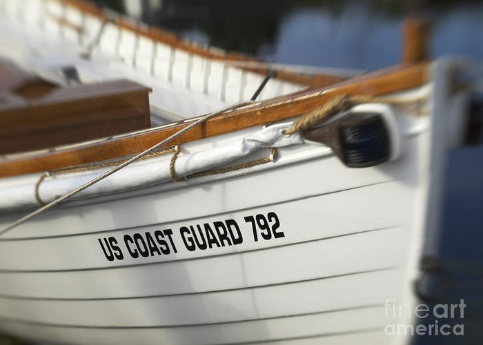 Boat Greeting Card featuring the photograph Antique Us Coast Guard Boat by Cheryl Butler