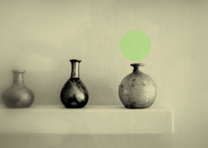 Still Life Greeting Card featuring the photograph Antique Vases Still Life Altered I by Kathleen Grace