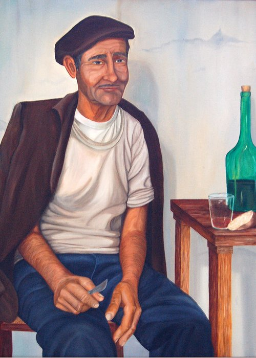 Portrait Greeting Card featuring the painting Antonio by AnnaJo Vahle