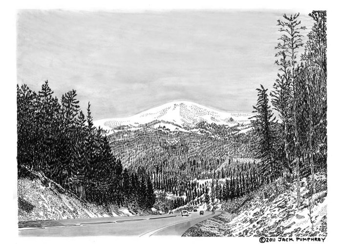 Framed Prints And Note Cards Of Ink Drawings Of Scenic Southern New Mexico Framed Canvas Prints Of Pen And Ink Images Of Southern New Mexico Greeting Card featuring the drawing Apache Summit Siera Blanco by Jack Pumphrey