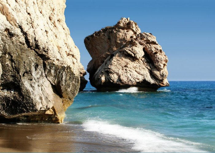 Aphrodite Greeting Card featuring the photograph Aphrodite Rock Cyprus by Julie L Hoddinott