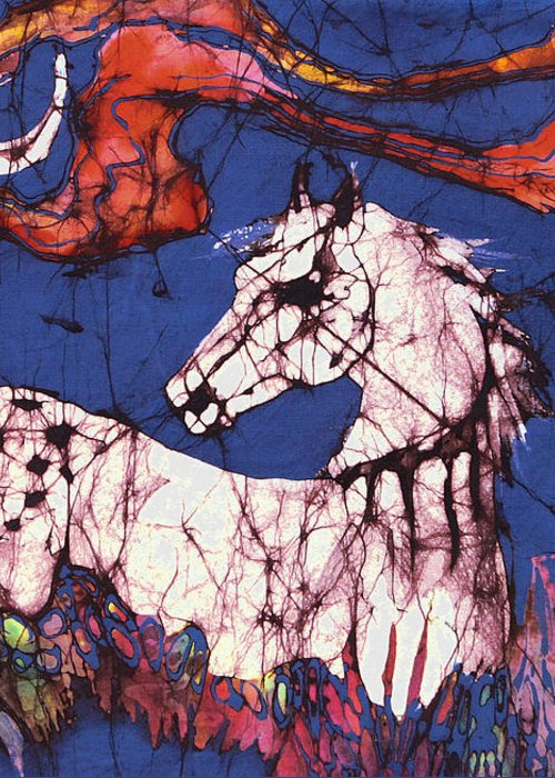 Batik Greeting Card featuring the tapestry - textile Appaloosa In Flower Field by Carol Law Conklin