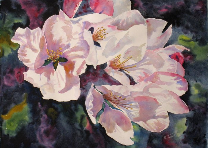 Flowers Greeting Card featuring the painting Apple Blossoms by Mohamed Hirji