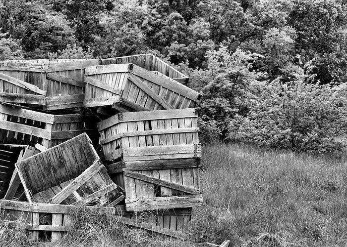 Apple Crates Greeting Card featuring the photograph Apple Crate Bw by JC Findley