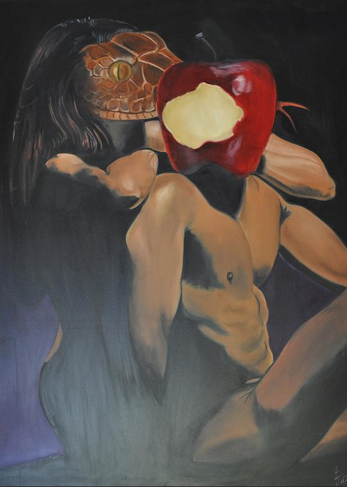 Apple Greeting Card featuring the painting Apple by Mitchell Todd