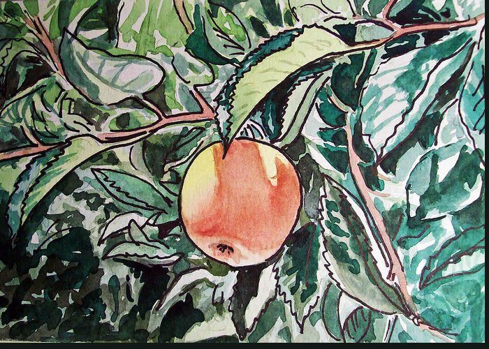 Sketch Greeting Card featuring the painting Apple Tree Sketchbook Project Down My Street by Irina Sztukowski