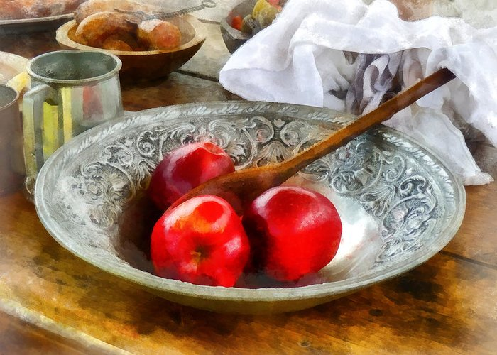 Meal Greeting Card featuring the photograph Apples In A Silver Bowl by Susan Savad