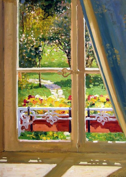 Window Greeting Card featuring the painting April Morning by Roelof Rossouw