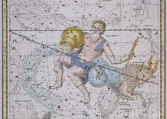 Aquarius And Capricorn Greeting Card featuring the painting Aquarius And Capricorn by A Jamieson