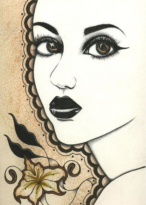 India Indian Arab Arabian Arabia Henna Mehindi Woman Girl Fantasy Lotus Greeting Cards