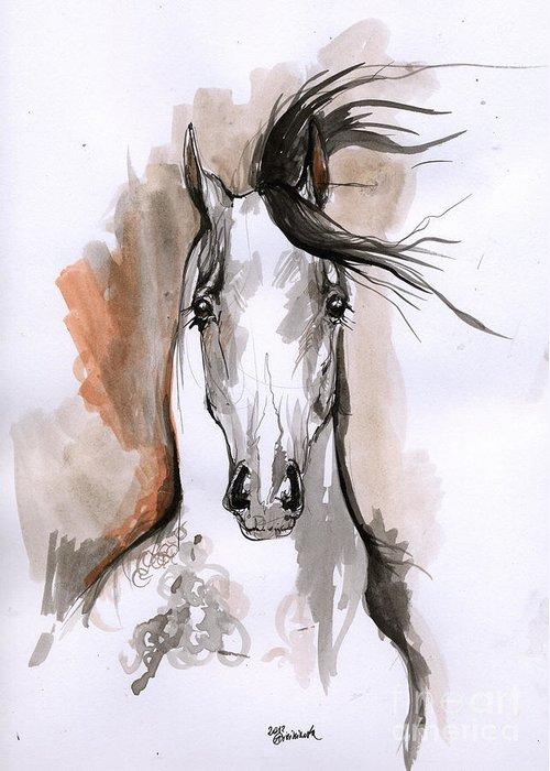 Horse Greeting Card featuring the drawing Arabian Horse Ink Drawing 2 by Angel Ciesniarska