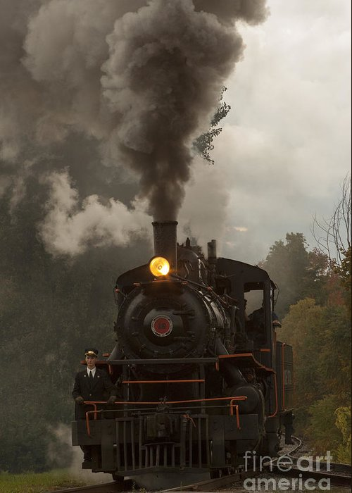 Train Greeting Card featuring the photograph Arcade Steam Engine by Darleen Stry