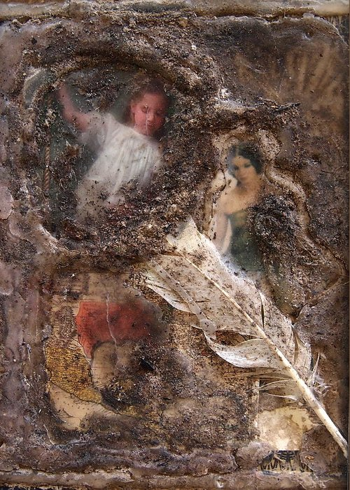 Collage Greeting Card featuring the mixed media Archaelogical by Tammy Cantrell