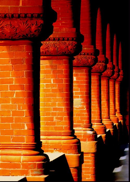 Architecture Greeting Card featuring the photograph Archaic Columns by Karen Wiles