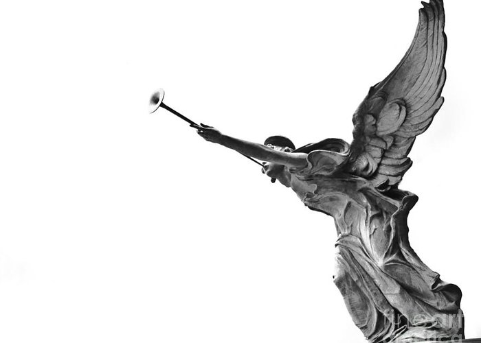 Angel Statue Wooden Wings Black And White Angelic Horn Photograph Photo Greeting Card featuring the photograph Archangel by Darwin Lopez