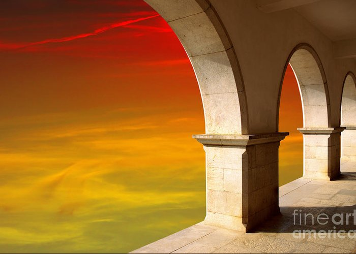 Air Greeting Card featuring the photograph Arches At Sunset by Carlos Caetano
