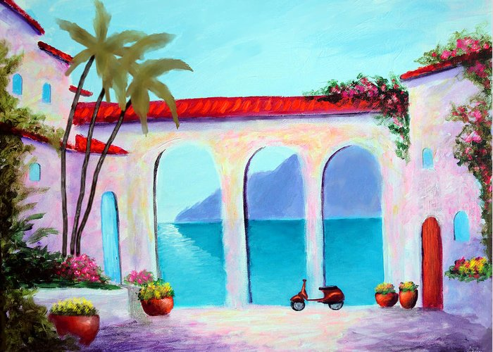 Arches Of Lake Como Greeting Card featuring the painting Arches Of Lake Como by Larry Cirigliano