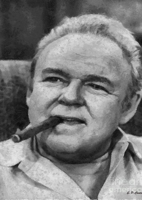 Archie Bunker Oil Painting Greeting Card featuring the painting Archie Bunker by Elizabeth Coats