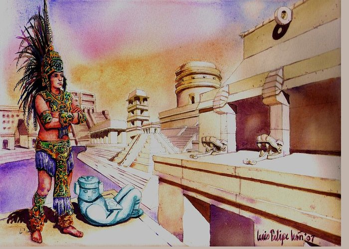 Maya Greeting Card featuring the painting Architect's Dream by Luis Leon